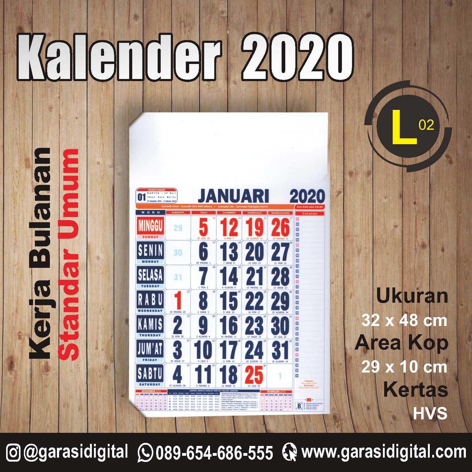 Jual Kalender Kerja 2020 Bulanan